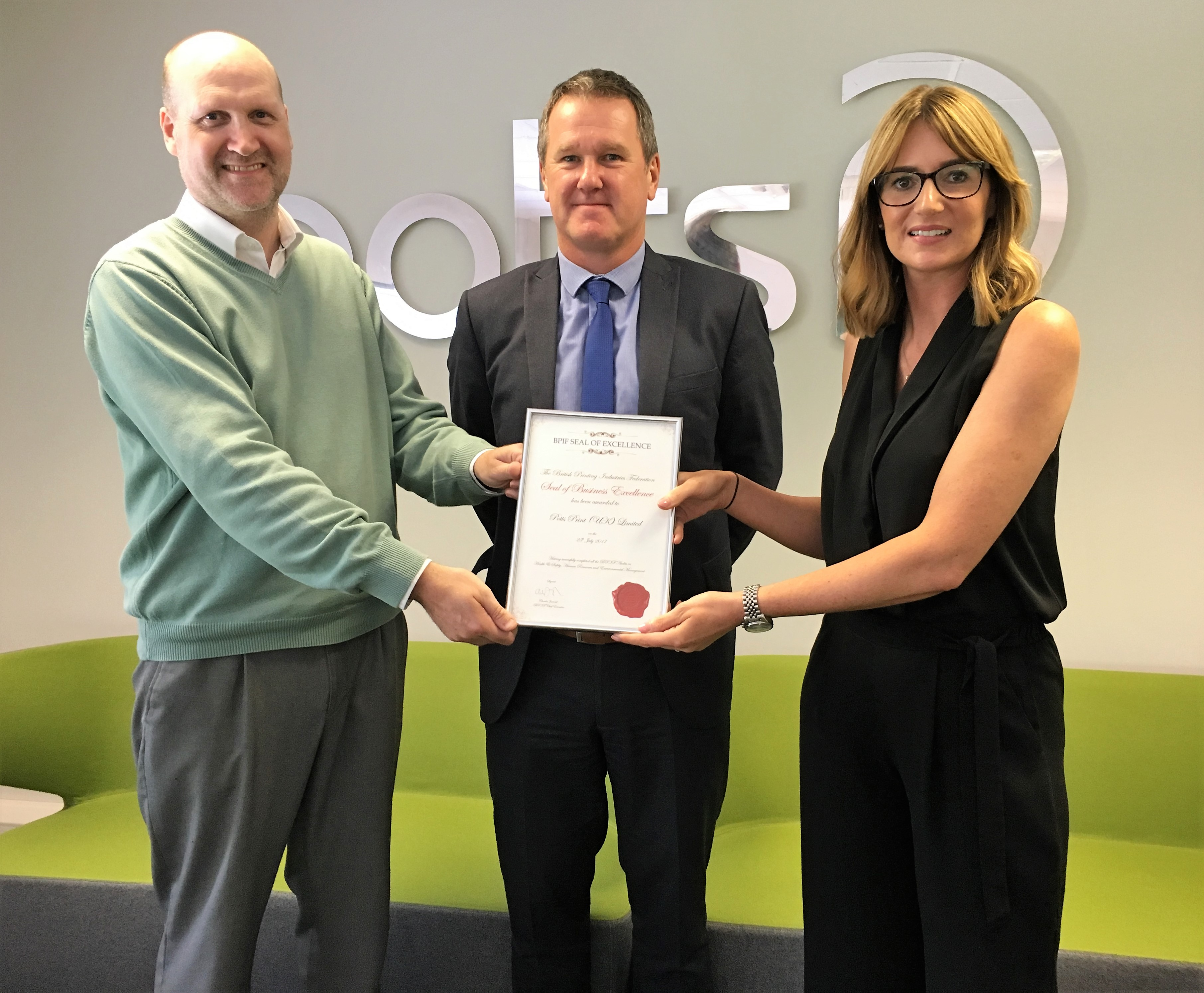 Potts Print (UK) Ltd awarded BPIF Seal of Business Excellence