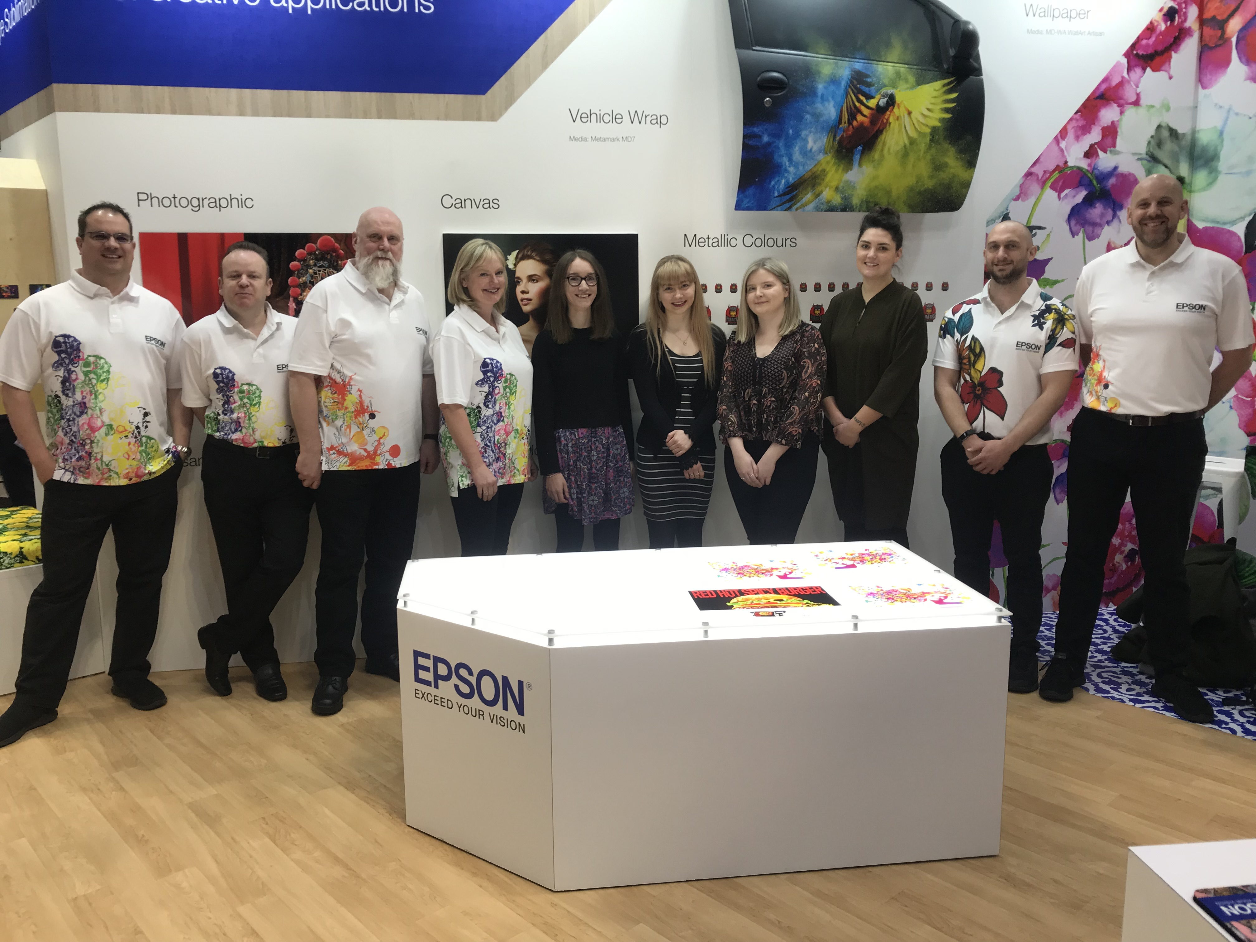 Birmingham City University students visit Sign & Digital to see their textile designs in action on the Epson stand